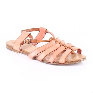 Chloe Strappy Coral and Brown Leather Sandals